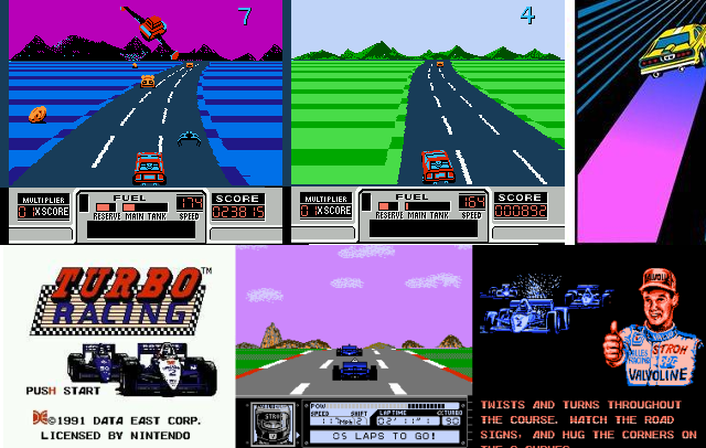 2 аркадные гонки на NES: Turbo Racing и Road Blasters